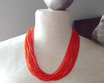 Boho necklace, orange necklace, burnt orange statement necklace, bridesmaid necklace, beaded necklace, seed bead necklace,bridesmaid gifts