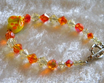 Artist Lampwork Flip Flop, Swarovski Bicone Crystals Bracelet, Fire Opal Crystals, Yellow Crystals, Crystal Embedded Toggle Clasp, Sandal