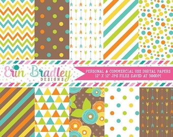 80% OFF SALE Yellow Blue Orange Green Brown Digital Papers Polka Dots Stripes Chevron Flowers Triangles Digital Scrapbook Paper