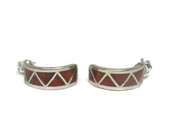 Vintage Zuni Coral Inlay Half Hoop Earrings