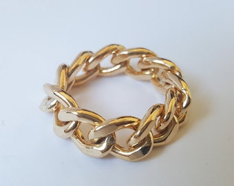 14k gold filled Cuban link curb link ring/7.5mm Cuban link ring/Cuban curb link/Gold filled curb ring/Cuban link ring/Chunky Curb link ring