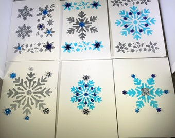 Handmade Snowflake Holiday Cards (6 Pack)