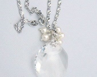 Swarovski Crystal Pendant With A Cluster Of Freshwater Pearls Necklace