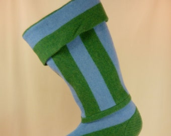 Christmas Stocking Felted Lambswool Stripes Green Blue Recycled Upcycled Repurposed 469