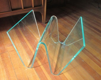 Vintage Lucite/Acrylic magazine rack in the style of Charles Hollis Jones
