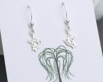 Silver Dove Earrings, Silver Peace Earrings, Dove Drop Earrings