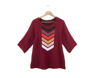 Geo Chevron Tunic - Fleece Oversized 3/4 Sleeve Scoop Neck Sweatshirt Tunic in Heather Cranberry and Fire - Women's Size XS-2XL