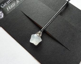 Weißer Stern Mondstein Bobby Pin - 10mm weißen Edelstein Bobby Pin
