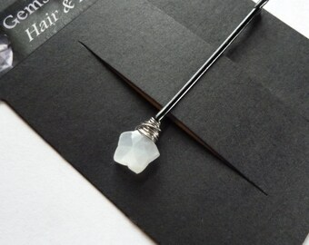 White Star Moonstone Bobby Pin - 10mm White Gemstone Bobby Pin
