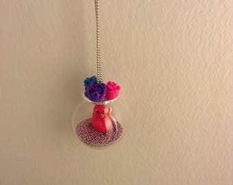 Pink duck fashion necklace