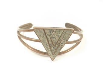 Inlaid Copper Geometric Bracelet, Vintage Copper Cuff Bracelet, Triangle Design, Copper and Stone Inlay, Solid Copper, Made in Mexico