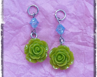 Hearing Aid Charms:  Lime Colored Roses!