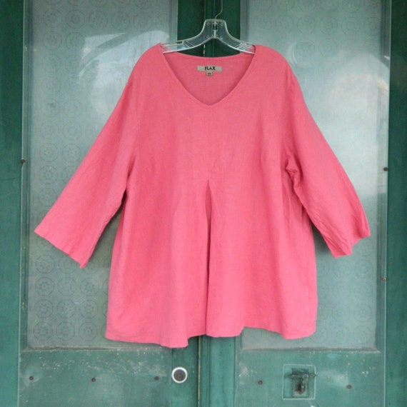 FLAX Engelheart 3/4 Sleeve Pullover Pleated Tunic -2G/2X- Rose Pink Linen