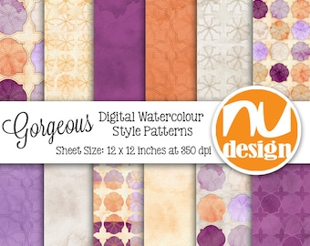"12 Floral Digital Scrapbooking Paper Patterns, Collage Sheets and Clipart - 12x12"" HiRes 300dpi files"