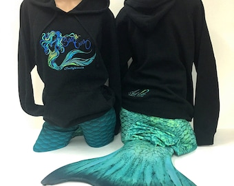 Mermaid Embroider Raglan Hooded Pullover Sweatshirt made in Santa Cruz