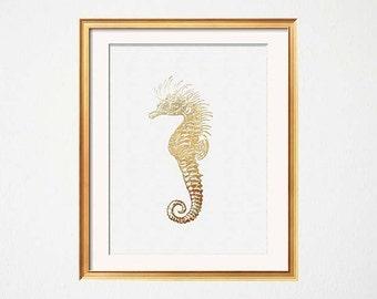 Seahorse Print, Gold Seahorse Art, White Gold Art, Modern Beach House Decor, Vintage Seahorse Wall Art, Starfish Print, Faux Gold Foil,