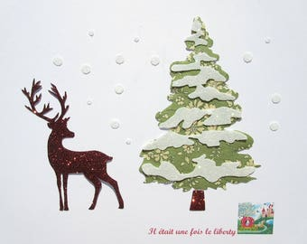 Fusing deer snow Capel liberty fabric Christmas tree green and glitter flex applique pattern liberty fusible winter holidays