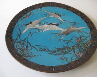 Vintage Cloisonne Plate With Cranes
