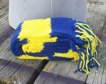 Knitted Yellow and Blue Striped Long Scarf Ready to Ship