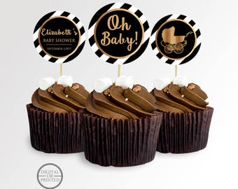 Black and Gold Baby Shower Cupcake Toppers | Black and White Baby Shower Cupcake Toppers | Printable Cupcake Toppers | Baby Shower Decor