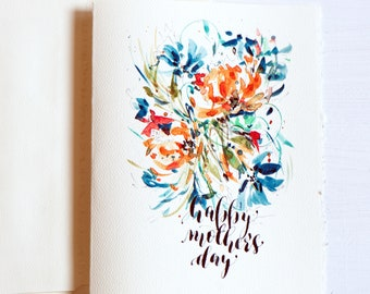 mothers day gift,Mothers Day Card, floral card,for Mom, Mother's Day unique, Handlettered ,Watercolor greeting card for mom, Mom card,
