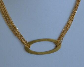 """Pretty Vintage Gold tone Contemporary Oval Pendant Necklace, Multi-Strand, 17""""-19-1/2"""" (W1)"""