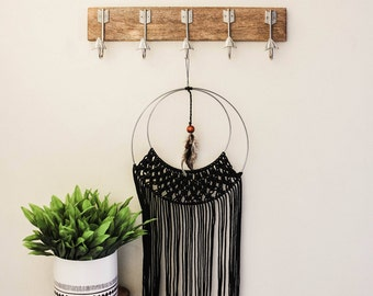 Macrame Ring Wall Hanging With Embellishments