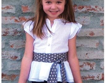 Haut de peplum Lily Bird Studio PDF couture modèle Amy / jupe chemisier - 12 mois à 10 ans -, collier style mandarin, ruffle manches