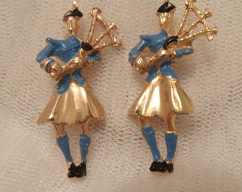 Two Beautiful Vintage Celtic, Enamelled Scottish Highlands Bagpipers Scatter Pins c. 1950'S