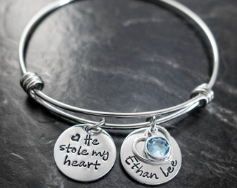 Wire Bangle / Mother Son Jewelry / He stole my heart / Mother's Day / New Mom Bangle / Wire Bangle Bracelet / Hand Stamped Mommy Jewelry