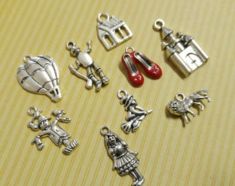 Fairy Tale Charms Set Assorted Charms Enamel Charm Silver Charms Themed Charms Silver Pendants Ruby Slippers Charm 9pcs