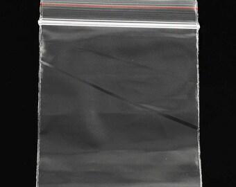 Set of 50 bags zip transparent 8x6cm (SA001)