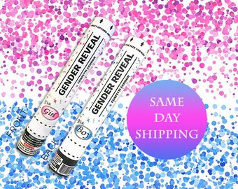 2 12 inch Confetti Cannons Ships same day - 12 Inch Confetti Cannon Gender Reveal Confetti Cannons On Sale