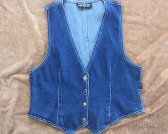 "Women's Vintage Denim vest by ""Switch"" USA // EUC"