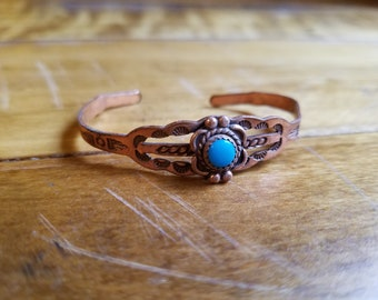 Vintage Child's size Copper and Turquoise Cuff Bracelet
