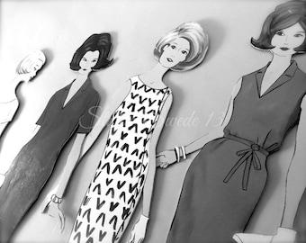 "Retro Print, Savannah Art, Urban Street Art, Black And White Vintage Retro Photo, Gray Decor, 50s 60s Art Print, Girls Room- ""Retro Chic"""