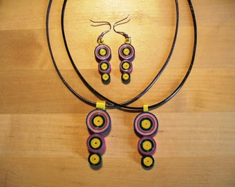 Ornament pendant, earrings, Quilling ring
