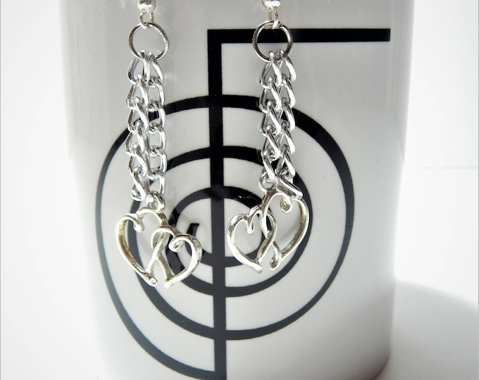Silver  hoop earrings, Heart hoop earrings, Tribal heart earring