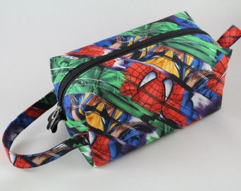Knitting Boxy pouch, Sock Bag knitting bag or small project pouch. Unique metal zipper pull. Marvel Superhero fabric