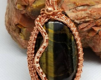 Dark Green Tiger Eye Pendant wrapped in copper