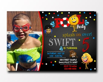 Emoji Birthday Pool Party Invitations with Photo/Emoji Pool Party Invitations/Emoji Birthday Party Invites/Emoji Birthday Invitations