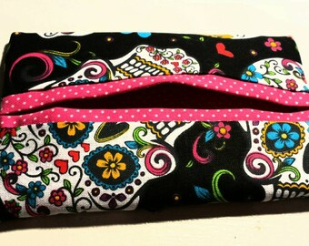 Sugar Skull Tissue Pocket.  Travel Tissue Holder. Tissue case. Bag Accessory.