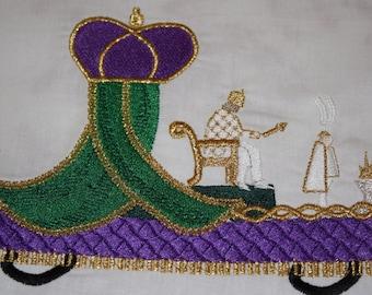 Mardi Gras King Float machine embroidery design