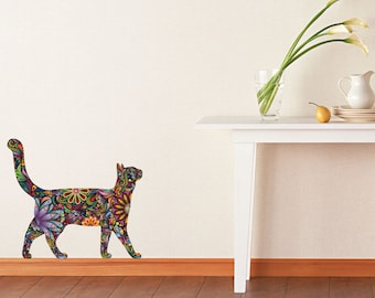 Walking Cat Wall Sticker - Repositionable Floral Cat Wall Decal