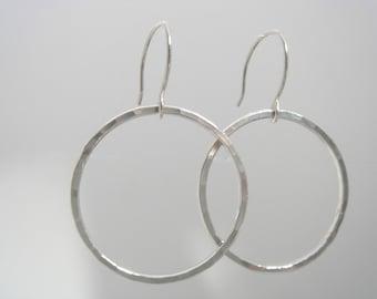 Hammered Hoop Earrings in Fine Silver