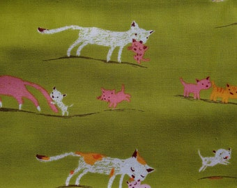 Heather Ross Tiger Lily Marching Cats on Green OOP Fabric Half Yard