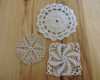 Lot of 3 Small Vintage Doilies