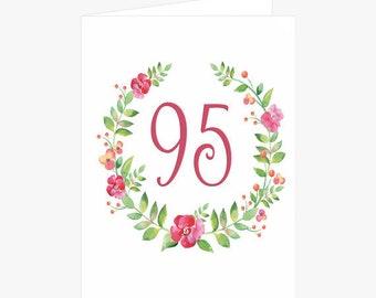 Pretty 95th Birthday Card, Flower Wreath Birthday Card, Pink, Green, Birthday Card for Mom, Card for her, Card for Grandmother