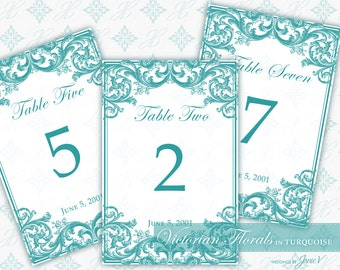 DIY Printable Wedding Table Number Template | Printable Table Setting Décor | Victorian Florals in Turquoise