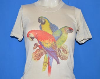 80s Three Tropical Parrots On A Branch t-shirt Extra Small